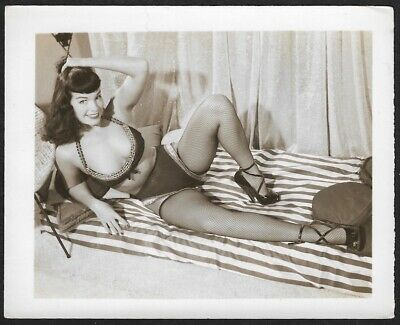 Vintage 1950s Original Bettie Page Spicy Pin-Up Photograph Fishnets & Heels NR