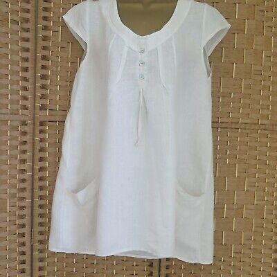 62e9d9bc52 LADIES MADE IN ITALY LINEN BLEND LAGENLOOK TUNIC TOP approx size 12 14