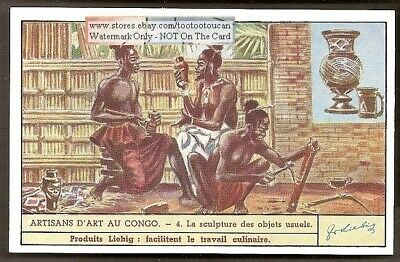 Africa Congo Art Wood Sculpture Carving 75+ Y/O Trade Ad Card