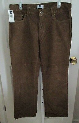 GAP $30 Medium Brown Classic Fit 5-Pocket Cotton Corduroy Pants Jeans 33W/34L