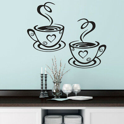 2X Coffee Tea cups Kitchen Wall Stickers Cafe Vinyl Art Decals Coffee Shops DP