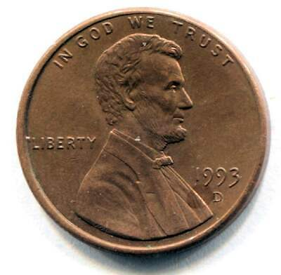 U.S. 1993 D Lincoln Memorial Penny -  American One Cent Coin Denver Mint