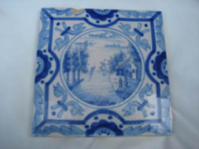 charming 6inch old DELFT TILE probably late 19th century figures trees boat ++