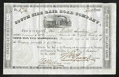 Stock Certificate - South Side Rail Road Co. - Virginia - 1853 - Nice