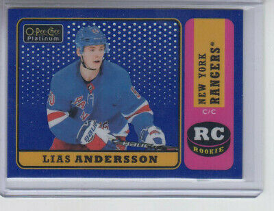 18/19 OPC Platinum New York Rangers Lias Andersson Retro Blue RC #R-92 Ltd #/149
