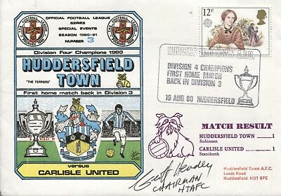 Dawn Football Cover 1980 Huddersfield Town SIGNED GEOFF HEADY Chairman S1003