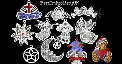 Machine Embroidery Designs - 101 Fsl Christmas Embroidery - Pes Dst Jef Formats