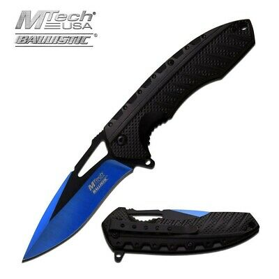 Mtech MTA930BL Black Ballistic Straight Assisted Blue Folding Pocket Knife