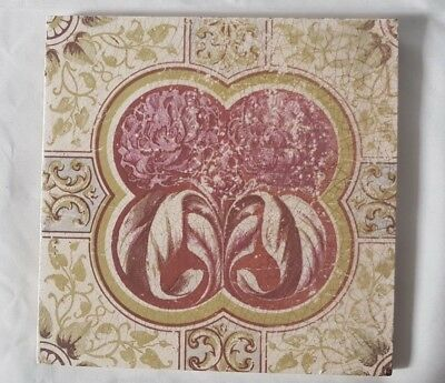 english UNUSUAL ORGANIC FLORAL ANTIQUE TILE.