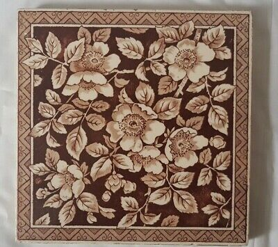CHARMING arts and crafts FLORAL DESIGN VICTORIAN TILE
