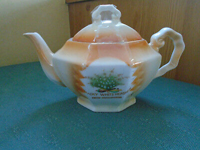 Lucky White Heather From Bridlington - Tea Pot - Crested China