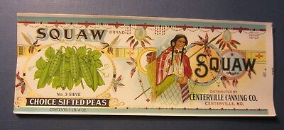 Wholesale Lot of 25 Old - SQUAW PEAS - CAN LABELS - Centerville MD. - Indian