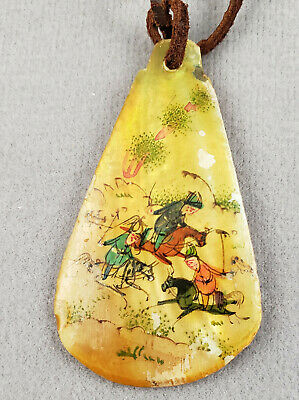 Antique Necklace Pendant Persian War / Hunt Scene Hand Paintd on Mother of Pearl