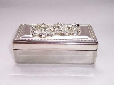 Vintage SILVER Plated TRINKET Keepsake BOX Rose Decoration