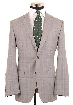 RECENT Hugo Boss 'The Smith2' Gray Plaid Super 100s Brushed Wool Sport Coat 40 R