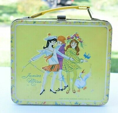 Junior Miss Aladdin Yellow Metal Lunchbox Missmatched Thermos Original Sticker
