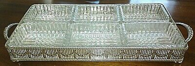 Vintage Silver Plated Sheffield Resilco Gallery Tray With 6 Glass Dishes