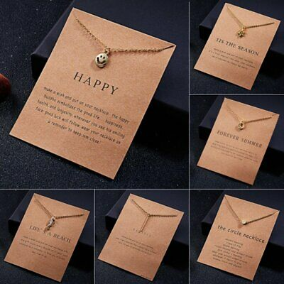Women Emoji Balance Pendant Necklace Gold Clavicle Chains Choker Card Jewelry