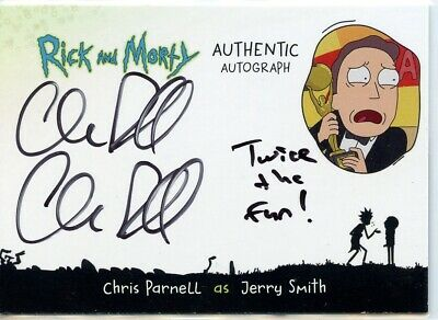 2018 Cryptozoic Rick and Morty DOUBLE Autograph Card - CHRIS PARNELL as JERRY