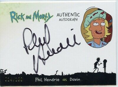 2018 Cryptozoic Rick and Morty Autograph Card - PHIL HENDRIE as DAVIN 014/100