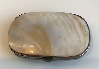 Antique Victorian Abalaone Shell and Leather Purse Compact
