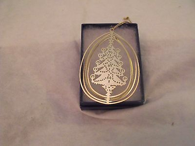 """Brass Ornament, Christmas Tree, 3D, Cut Out Tree, 3"""", w/Gift Box"""