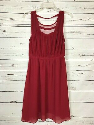 Ya Los Angeles Boutique Spring SILK Red Party Career Dress Women's Size L Large