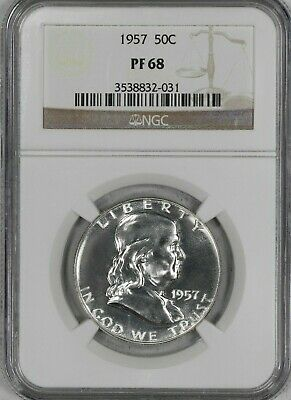 1957 Franklin Half Dollar 50C  Ngc Certified Pf 68 Proof (031)