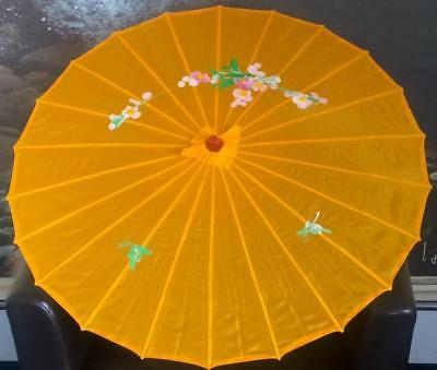 """Large deep yellow handmade / decorated oriental floral parasol bamboo handle 31"""""""