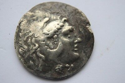 LARGE ANCIENT GREEK  ALEXANDER THE GREAT SILVER TETRADRACHM COIN 4th CENT BC