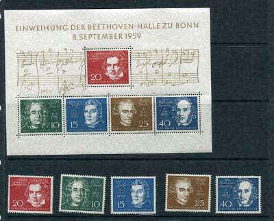 Germany 1959 Sheet Mi Block 2+Stamps MNH Music Composers Bwthoven hall  g1801b