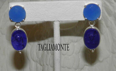 TAGLIAMONTE(1070)Post Earrings*SS/925*Lapis Color Blue Venetian Cameo+Chalcedony