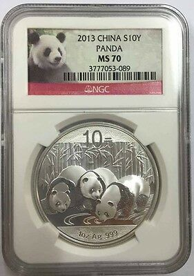 2013 China 1oz 10yuan silver panda coin NGC MS70