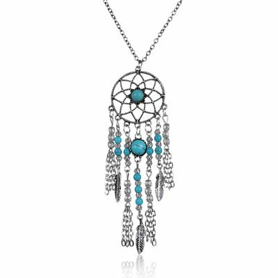 Vintage Boho Ethnic Feather Tassel Charm Pendant Chain Necklace Jewelry Gifts
