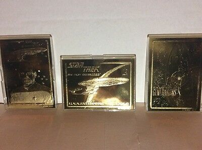 3 star trek 24 karat gold next generation trading cards
