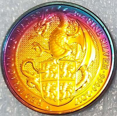 Rainbow Toned , 2017 Great Britain 2 oz Silver Queen's Beast Dragon Coin