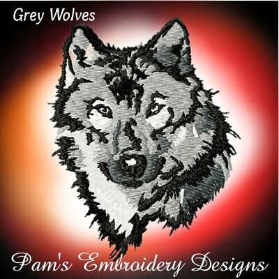 GREY WOLVES 10 MACHINE EMBROIDERY DESIGNS CD or USB
