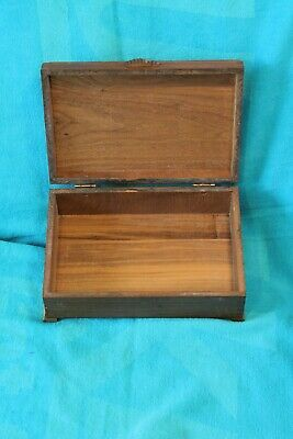 Vintage Solid Walnut? Dovetailed Construction Inlaid Wood Jewelry Box