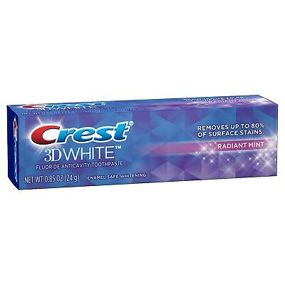 Crest 3D White Fluoride Anticavity Toothpaste Radiant Mint Trial Size 0.85 Oz.