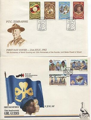 PAIR of Zimbabwe covers, 75th Anniversaries, 1982 Scouting and 1978 Girl Guides