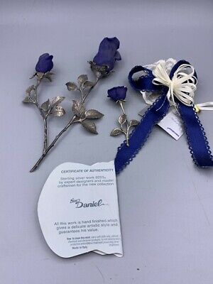 Three Solid Silver Roses with Capodimonte Porcelain Blue Roses. Fine Quality.