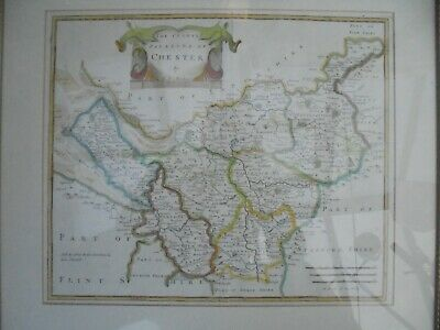 Antique Robert Morden Hand Coloured Map of The County Palantine of Chester. 1695