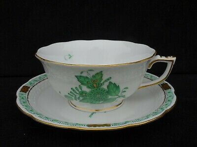 """Herend """"chinese Bouquet Green"""" Footed Cup & Saucer ~ 734/av ~ Mint ~ Listing #1"""