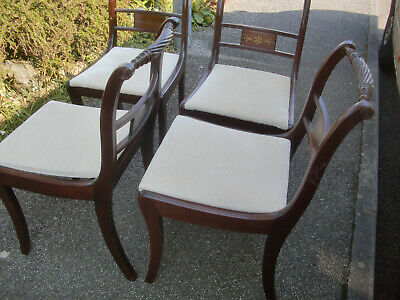 4 quality Regency chairs with metal inlay.. Waterloo rope back,