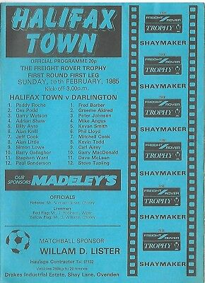 Football Programme>HALIFAX TOWN v DARLINGTON Feb 1985 Freight Rover Trophy