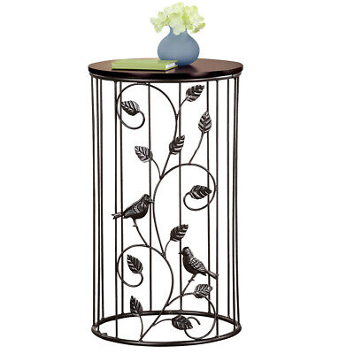 Round Wrought Iron Side Accent Table w/ Scrolling Vine Design & Wood Top