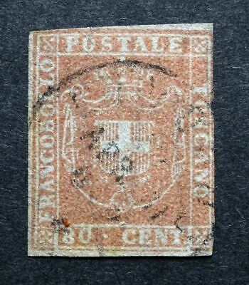 Italian States TUSCANY 1860 SG50/Sc.#22 80c Pale Red Brown Imperf FU GENUINE.