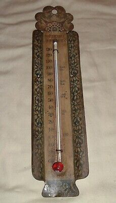 Antique Tin Litho , Victorian C.E. Large Brooklyn NY Reliable Thermometer