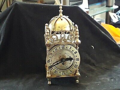Antique Smiths 8 Day 7 Jewels Brass Lantern Clock In GWO with original key