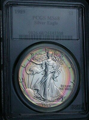 1989 PCGS MS68 Superb Gem Rainbow Target Toned American Silver Eagle (mb1838)